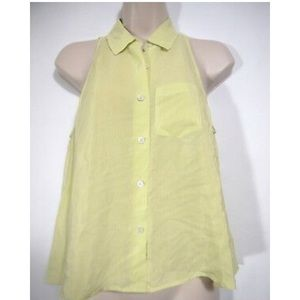 Equipment Top Silk Stripe Button Collar Sleeveless